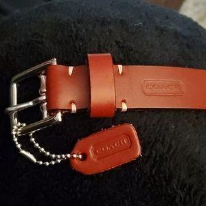 Burgundy leather Coach belt